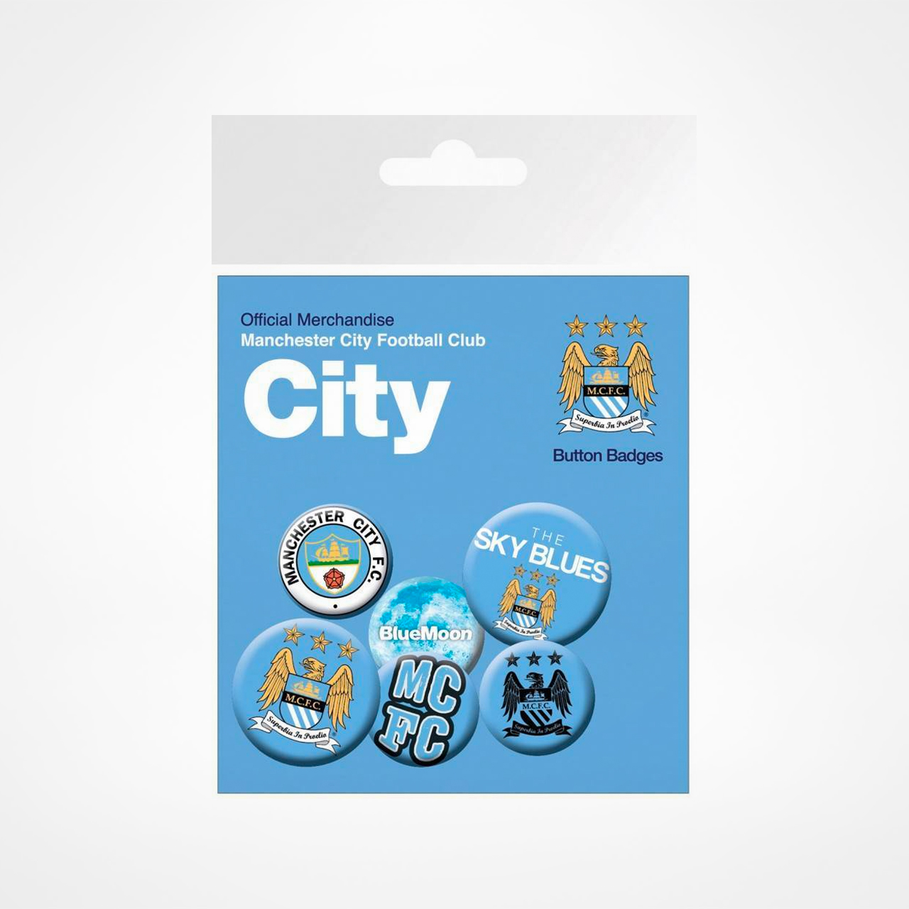 manchester city 6 pack knappar hos supporterprylar. Black Bedroom Furniture Sets. Home Design Ideas